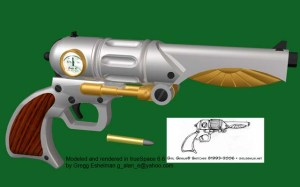 Awesome 3D rendering of a steampunk revolver inspired by a Girl Genius sketch