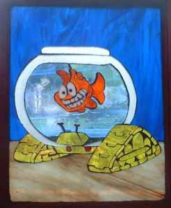Stained Glass art by Robin Passovoy; used with permission as a prize for the Midwest Pond and Koi Society