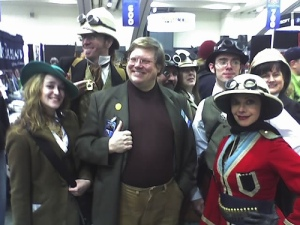 Phil hangs out with a group of Steampunk Adventurers at Wondercon