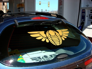 Deb Kosiba made this amazing Winged Trilobite window sticker for her car!